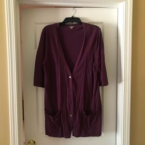 J Jill Sweater maroon short sleeve